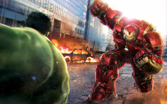 hulkbuster, tony, stark, hulk, bruce, знамя, битва, avengers, age, iron,