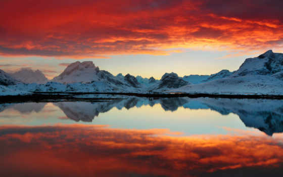 закат, red, озеро
