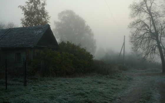 деревня, туман, house,