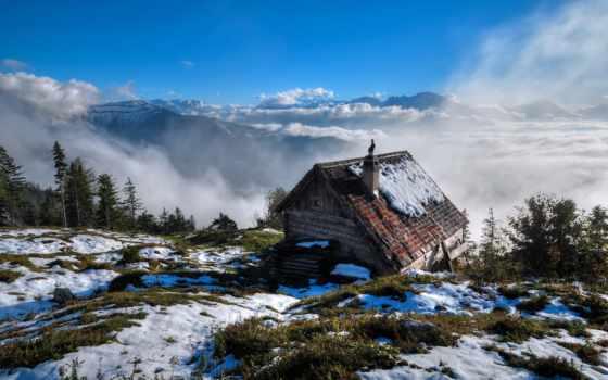 casa, meio, casinha, montanhas, нас, norueguesas, pequena, campo, natureza,