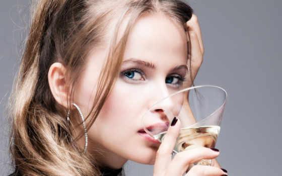 девушка, бокалом, мартини