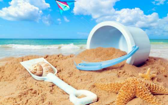 ковш, пляж, пики, stock, против, фон, scene, ocean, песок,