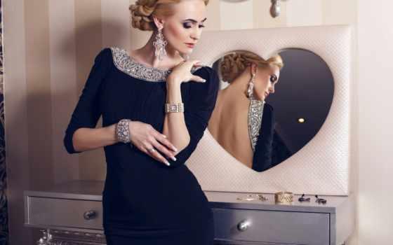 платье, камнями, чёрное, than, украшения, красивая, элегантном,