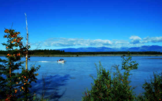 аляска, река, природа, trees, горы, лодка, небо, landscape,