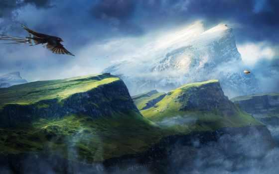 птица, горы, со, картинка, горами, горах, природа, полет, фоны, туман, перепелятник,