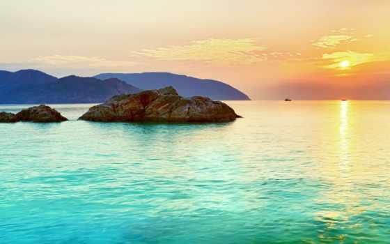 остров, горизонт, landscape, море, закат, небо, water, панорама