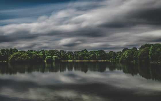 pantalla, озеро, облако, природа, nublado, trees