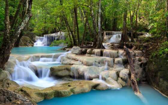 fore, водопад, природа, доставка, landscape, облако, небо, дерево, region