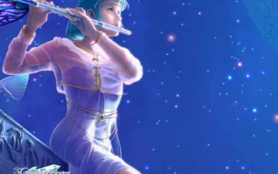 флейте, девушка, играет,