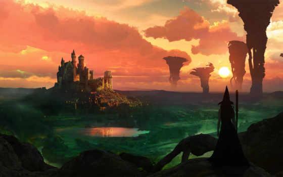 magical, castle, witch, desktop,