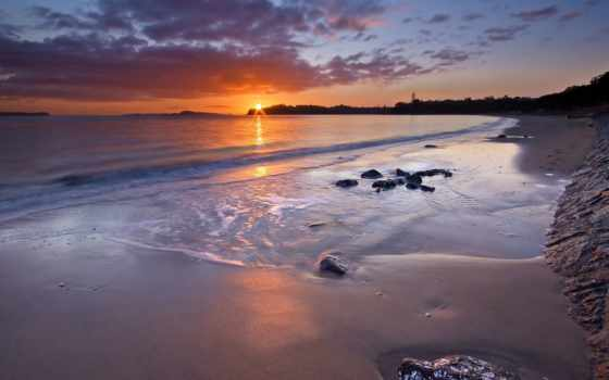 восход, пляж, desktop
