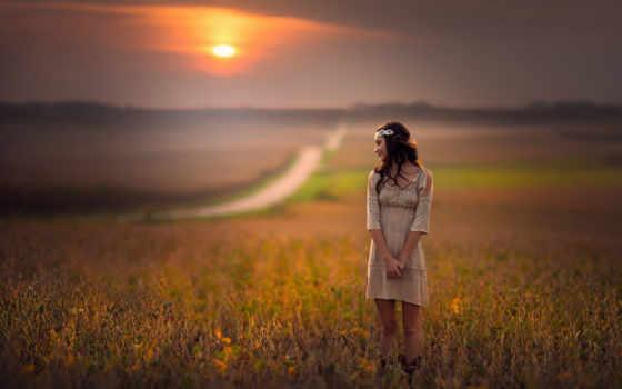 девушка, поле, модель, studios, платье, sun, дорога,
