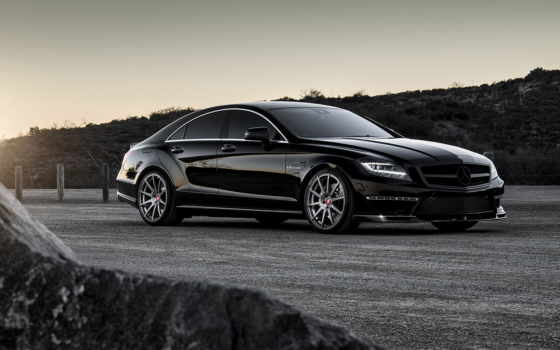 мерседес, mercedes, benz, cls, black, закат, amg, car, природа,