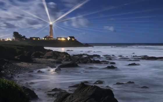 маяки, море, пейзажи -, ночь, берег, waves, ocean, water,
