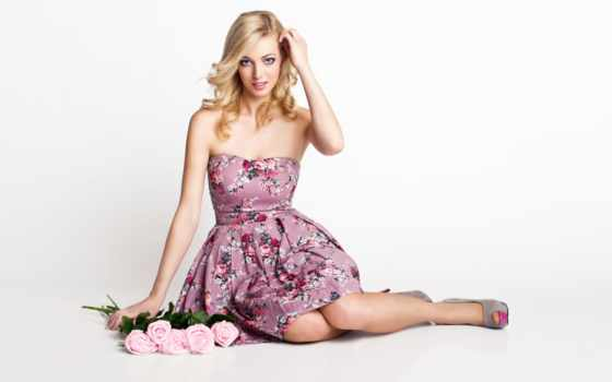платье, sitting, женщина, images, women, blonde, модель, розовый, девушка, stock, photos,