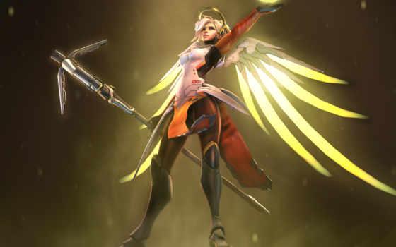overwatch, mercy, angel, игры, video, guardian,