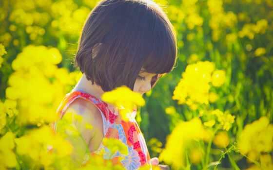 девушка, цветы, children