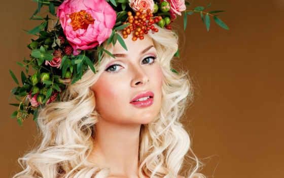 девушка, цветы, cowsills, красавица, love, венок, images,