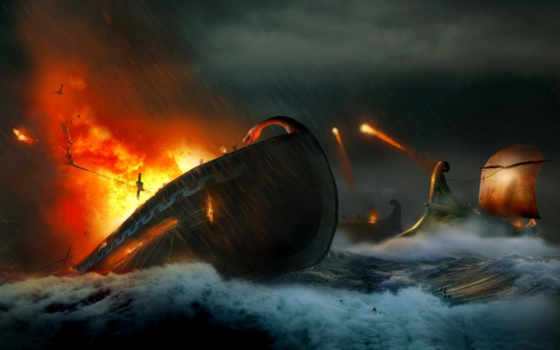 огонь, war, корабли, море, waves, выстрелы, attack, осколки,