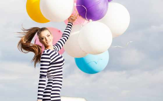 девушка, balloons, white, striped, воздушными, short, bunch, black, платье,