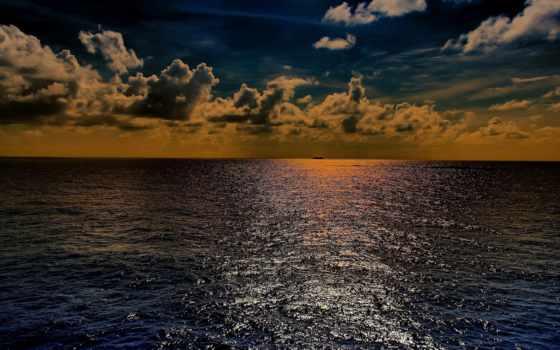 закат, ocean, море, небо, distance, oblaka, горизонт, корабль,