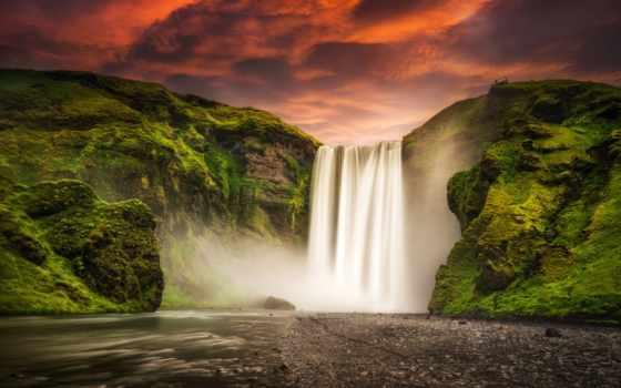 водопад, skogafoss, iceland, skógafoss, исландии,