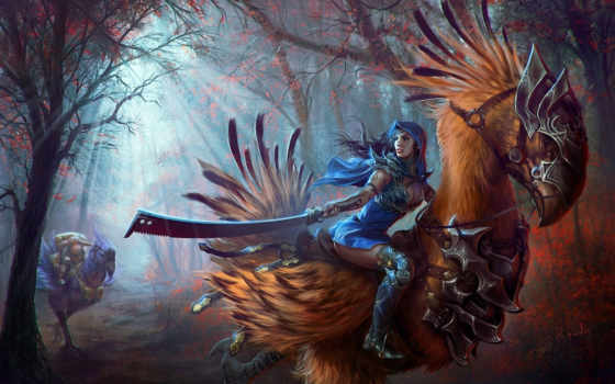 fantasy, art, final, warriors, weapons, chocobo, women, forest, фэнтези, женщин, оружие, воины,