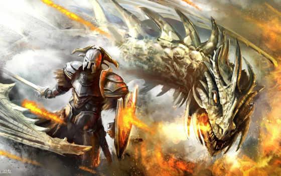 art, дракон, воин