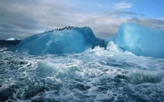 море, природа, пингвины, ocean, waves, брызги, льдина, oblaka, айсберге, бурном,