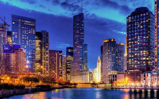 turret, трампа, chicago, стритервилл, trump, город, небоскребы, башня, иллинойс, сша, вечер,