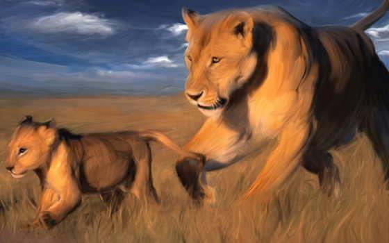 animal, природа, картинка, wild, львы, рисунок, canvas, краска, живопись, art, lion
