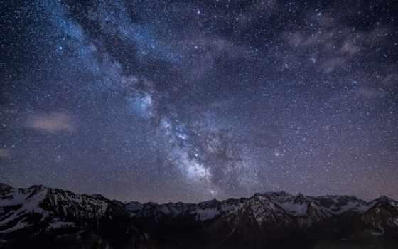 ipad, мини, air, горы, ночь, звезды, небо, retina,