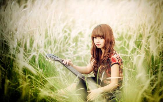 девушка, гитара, asian, музыка, iphone, трава, girls, this,