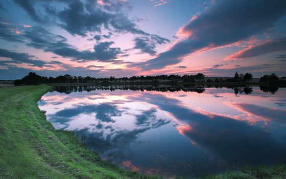 озеро, закат, рыбалка