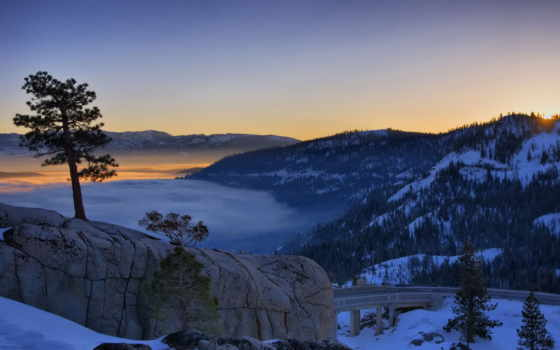 природа, горы, закат