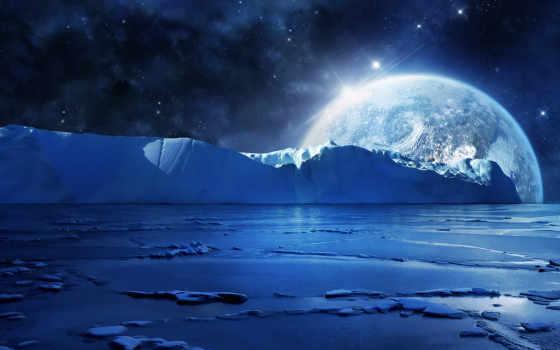 ночь, льды, море, вода, льдины, лед, картинка, картинку, moon,