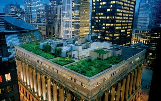 сад, крыше, крыша, небоскребы, архитектура, терраса, сша, чикаго, дома, вечер, картинка, city, building,