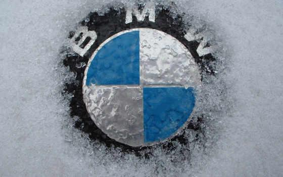 bmw, значок, снег