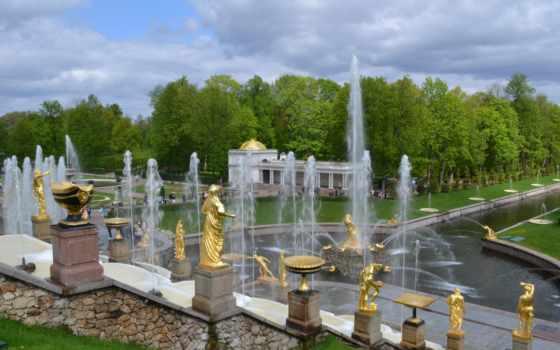 фонтаны, петергоф, флот, взгляд, fountain,