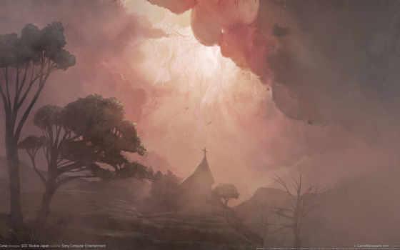 туман, рисунок, деревя