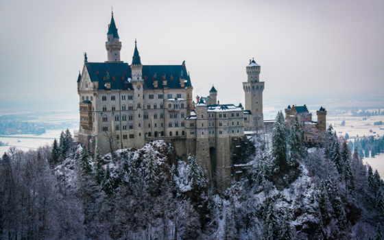 нойшванштайн, castle, бавария, bus, германия, pin, desde, снег,