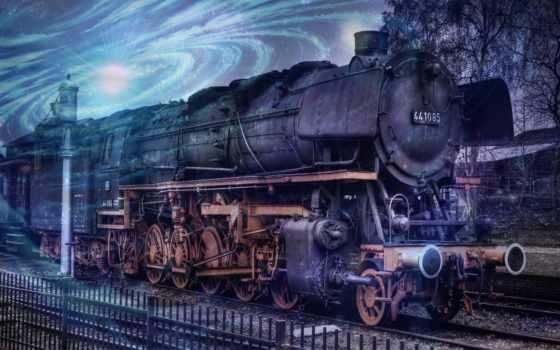 поезд, старых, чудесные, паровозов, free,