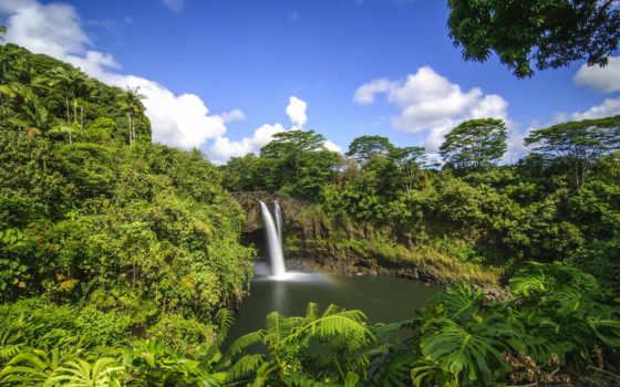 природа, jungle, водопад, красиво, tropics, water, небо, пальмы, горы,