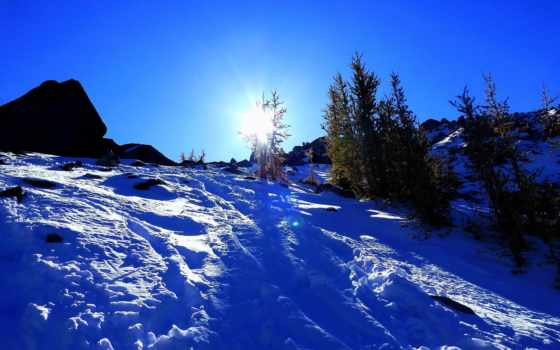 hill, снег, landscape, trees, дракон, winter, touch,