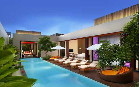 bali, бассейн, villa, seminyak, retreat, спальня, шезлонг, hotel, marvelous, красивый