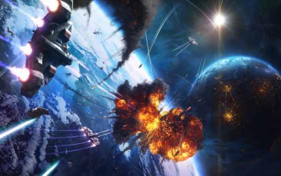 cosmos, planet, взрыв, корабль, звезды, дым