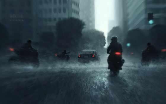 мотоцикл, дождь, город, огни, ночь, car, water, wet, traffic, artwork, джин