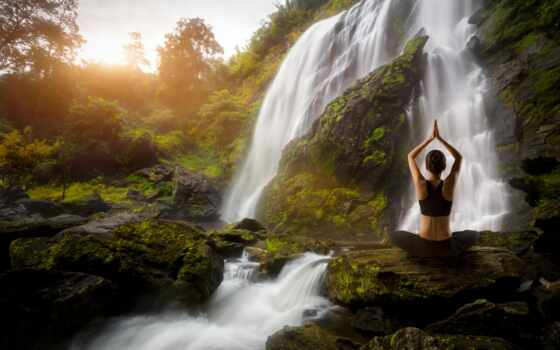 водопад, йога, khlong, лан, умывание, water, royalty, фото, psihotehnologiya, stokovyi, сеть