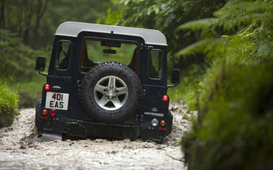land, rover, defender, rear, widescreen, picture,