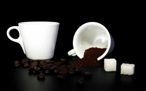 coffee, сахар, кружки, зерна, молотый, кружка, beans, опрокинутая,